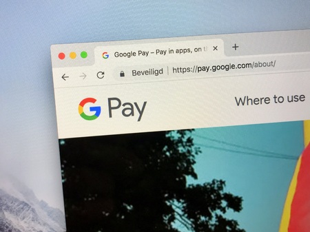 Amsterdam, Netherlands - October 12, 2018: Website or Google Pay or G Pay, a digital wallet platform and online payment system.