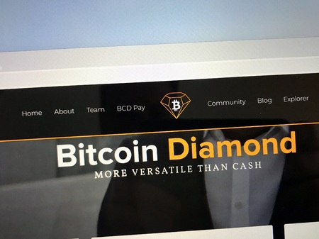 Amsterdam, Netherlands - October 12, 2018: Website of Bitcoin Diamond or BCD, a digital cryptocurrency.