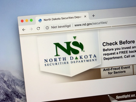 Amsterdam, Netherlands - October 13, 2018: Website of The North Dakota Securities Department. Editorial