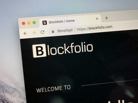 Amsterdam, Netherlands - October 13, 2018: Website of Blockfolio, a crypto currency portfolio management platform. Editorial