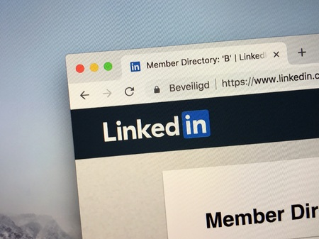 Amsterdam, Netherlands - October 13, 2018: Website of Linkedin, a business and employment service. Editorial