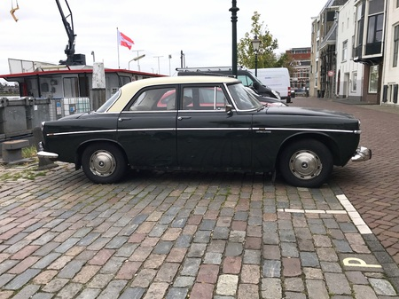 Dordrecht, the Netherlands - October 25, 2018: Rover 3.5 Litre Saloon parked on a public parking lot. Nobody in the vehicle.
