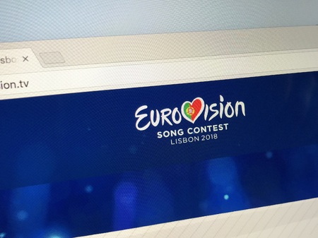 Amsterdam, Netherlands - May 10, 2018: Official website The Eurovision Song Contest or Eurovision, the longest-running annual international TV song competition. Editorial
