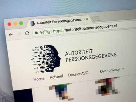 Amsterdam, Netherlands - May 9, 2018: Official website the Dutch Data Protection Authority (Dutch: authority personal data AP), General Data Protection Regulation (AVG). Editorial