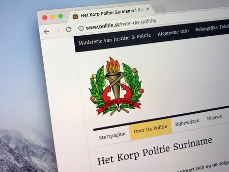 Amsterdam, Netherlands - May 16, 2018: Official homepage of Police Corps Suriname (Dutch: Korps Politie Suriname, KPS, a traditional police department and responsible for all the policing efforts. Editorial