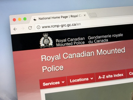Amsterdam, Netherlands - May 16, 2018: Official homepage of The Royal Canadian Mounted Police (RCMP). colloquially known as the Mounties.