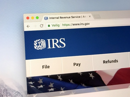 Amsterdam, The Netherlands - May 1, 2018: Official homepage of The Internal Revenue Service (IRS). The IRS is the United States federal government taxation authority.