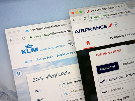 Schiphol, Netherlands - May 11, 2018: Official websites of Air France and Royal Dutch Airlines KLM. Air France - KLM is a Franco-Dutch airline holding company. Both companies are members of the SkyTeam.