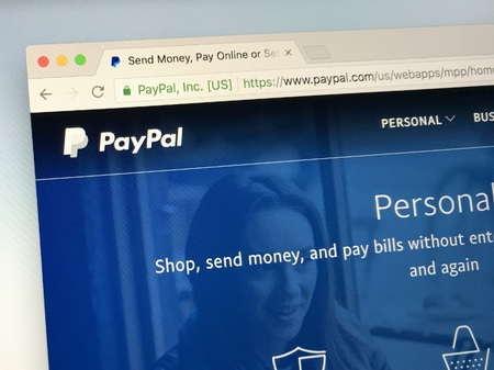 Amsterdam, Netherlands - May 19, 2018: Website or PayPal, an American company operating online payment system that supports online money transfers and serves. Editorial