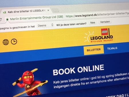 Amsterdam, Netherlands - May 1, 2018: Website of The Legoland Billund Resort, a family theme parks. Editorial