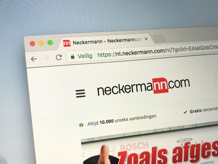 Amsterdam, Netherlands - May 25, 2018: Website of neckermann, a e-commerce company. Редакционное