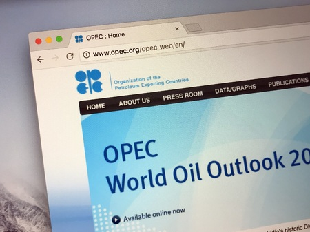 Amsterdam, Netherlands - May 25 2018: Offical website of Organization of the Petroleum Exporting Countries, OPEC. Editorial