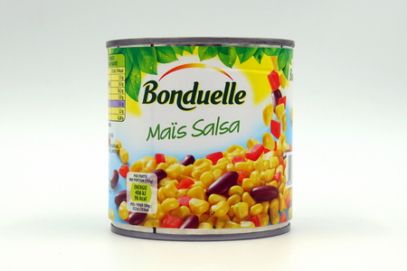 Amsterdam, The Netherlands - November 10, 2018: Can of Bonduelle ma s Salsa against a white background.