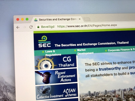 Amsterdam, the Netherlands - July 6, 2018: Official website or Securities and Exchange Commission of Thailand.