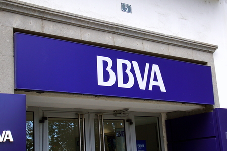 Las Palmas, Spain - December 30, 2018: Bank logo above the entrance of the BBVA bank in the city of Las Palmas, Spain.