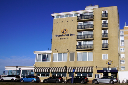 Noordwijk, the Netherlands - January 20, 2019: Hotel Prominent Inn Hotel in a clear blue sky.