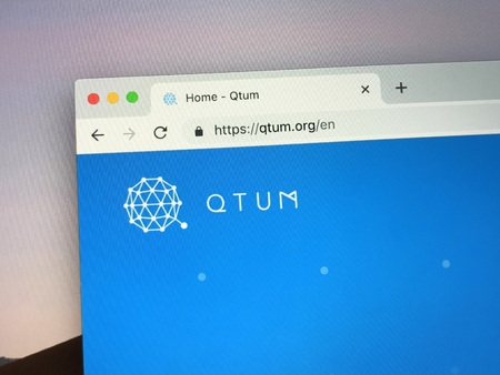 Amsterdam, the Netherlands - January 25, 2019: Website of QTUM, an open sourced public blockchain platform. Editorial