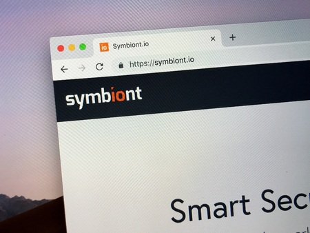 Amsterdam, the Netherlands - January 25, 2019: Website of symbiont, a contract platform based on blockchain technology.