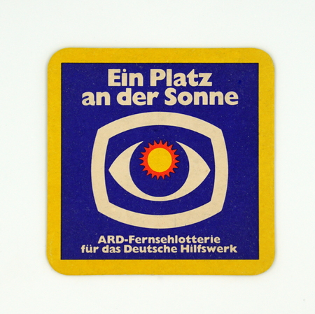 Amsterdam, the Netherlands - March 8, 2019: 1980s vintage German ARD beer mat or coaster.