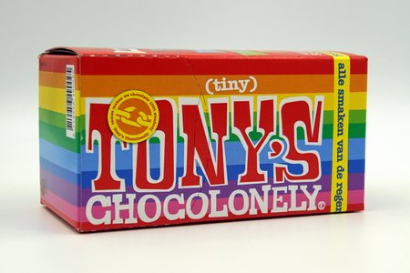 Amsterdam, the Netherlands - March 10, 2019: Package of Tonys Chocolate Tiny Tonys against a white background.