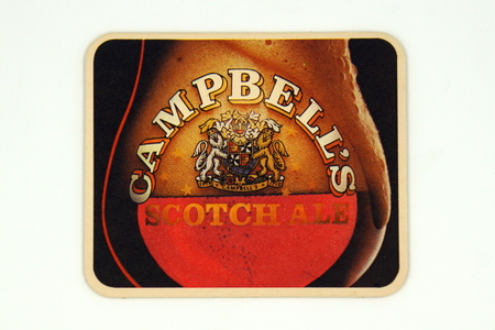 Amsterdam, the Netherlands - March 12, 2019: 1980s vintage Campbells Scotch Ale beer mat or coaster. Redactioneel