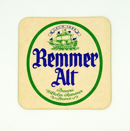 Amsterdam, the Netherlands - March 8, 2019: 1980s vintage German Remmer Alt beer mat or coaster