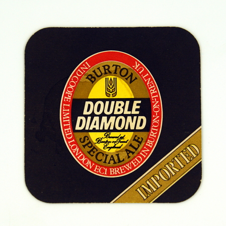Amsterdam, the Netherlands - March 12, 2019: 1980's vintage Double Diamond Burton Pale Ale beer mat or coaster against a white background. Stockfoto - 122440904