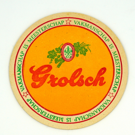 Amsterdam, the Netherlands - March 15, 2019: 1980s vintage Grolsch beer mat or coaster against a white background. Redactioneel