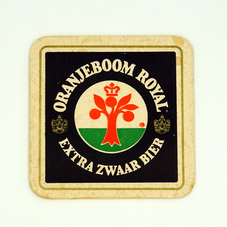 Amsterdam, the Netherlands - March 15, 2019: 1980's vintage Orange tree Royal beer mat or coaster against a white background.