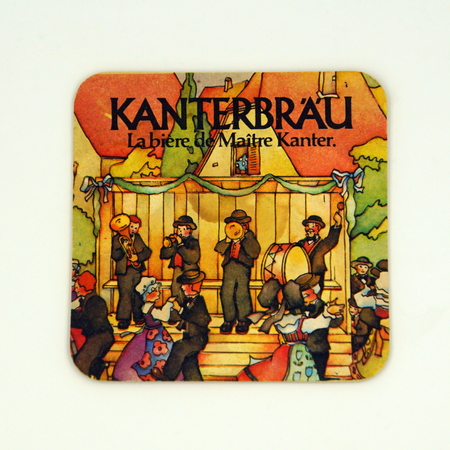 Amsterdam, the Netherlands - March 15, 2019: 1980s vintage Kanterbr u beer mat or coaster against a white background. Redactioneel