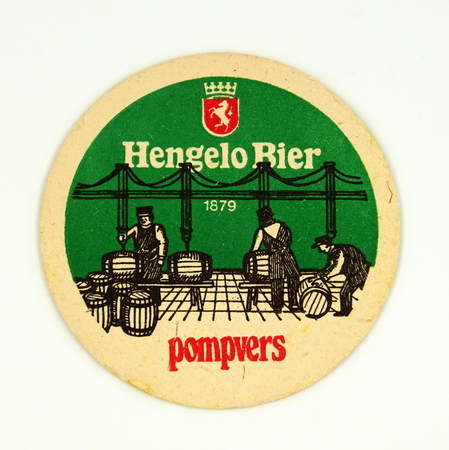 Amsterdam, the Netherlands - March 15, 2019: 1980s vintage Hengelo Beer mat or coaster against a white background. Redactioneel