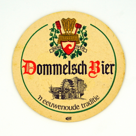 Amsterdam, the Netherlands - March 15, 2019: 1980s vintage Dommelsch Beer mat or coaster against a white background. Redactioneel