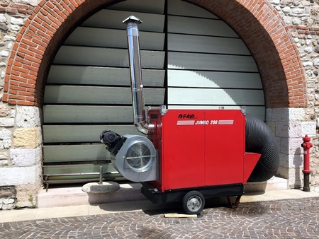 Lazise, Verona, Italy - April 30, 2019: Mobil hot air generator Faip Jumbo 200. Editorial