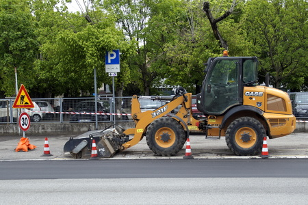 Verona, Italy - April 29, 2019: Case 321 f wheel loader by the side of the road.