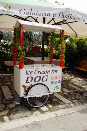 Sirmione, Italy - April 24, 2019: Ice cream stand for dogs.