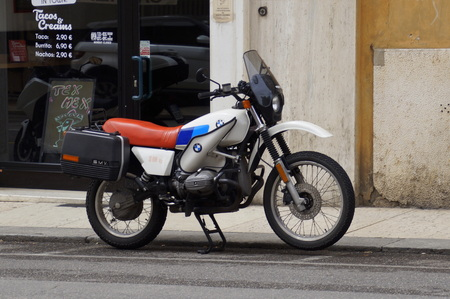 Verona, Italy - April 29, 2019: BMW R80G  S motorbike parked by the side of the road.