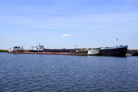 Almere the Netherlands - June 1, 2019: Dutch inland waterway motor freighters Zijpe and Drechtstad 2 docked. Editorial