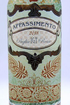 Amsterdam, the Netherlands - June 28, 2019: Appassimento Puglia Rosso red wine label.