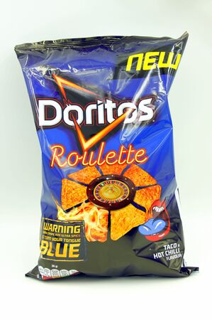 Amsterdam, the Netherlands - June 14, 2019: Package of Doritos Roulette against a white background. Editorial