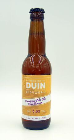 Almere, the Netherlands - June 8, 2019: Bottle of American Pale Ale Elderflower beer, brewed by Dutch Duin Brewery.