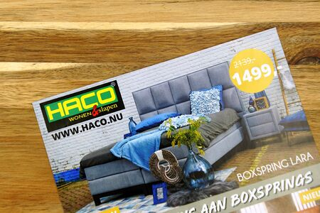 Amsterdam, the Netherlands - July 7, 2019: Sale flyer, or advertising brochure, or Dutch furniture store Haco.