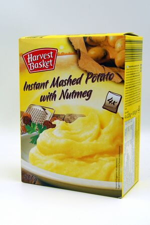 Amsterdam, the Netherlands - July 13, 2019: Package of Lidls Harvest Basket instant mashed potato against a white background. Editorial
