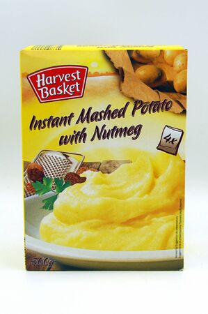 Amsterdam, the Netherlands - July 13, 2019: Package of Lidl's Harvest Basket instant mashed potato against a white background.