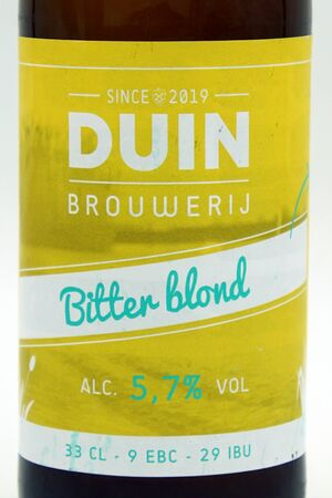 Almere Duin, the Netherlands - July 13, 2019: Label of Duin Bitter Blond beer, brewed by Dutch Duin Brewery. Editorial