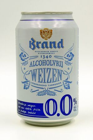 Amsterdam, the Netherlands - July 14, 2019: Can of Brand Weizen non-alcoholic halal beer. Editorial