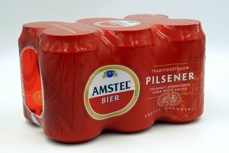 Amsterdam, the Netherlands - July 14, 2019: Six Pack of Dutch Amstel beer against a white background.