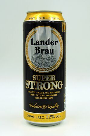 Amsterdam, the Netherlands - July 16, 2019: Can of Lander Br Super Strong beer against a white background.
