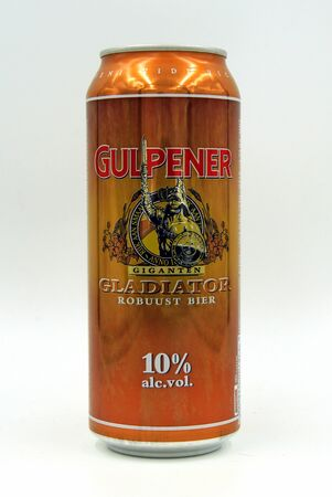 Amsterdam, the Netherlands - July 16, 2019: Can of Dutch Gulpener Gladiator Beer against a white background.
