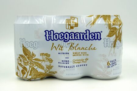 Amsterdam, the Netherlands - July 16, 2019: Six Pack of Hoegaarden White Blanche beer against a white background.