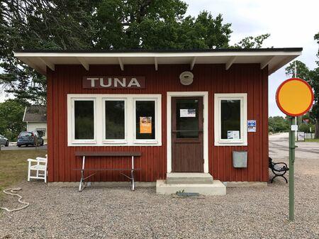 Tuna, Sweden - August 1, 2019: Tuna railway station.